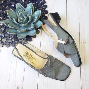 Fabric Slingback Sandals Crisscross Design